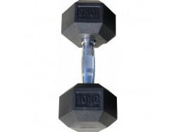 Гантель гексагональная обрезиненная, хромированная ручка, 10 кг (Body-Solid)