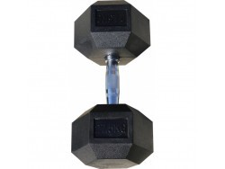 Гантель гексагональная обрезиненная, хромированная ручка, 27,5 кг (Body-Solid)