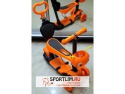 Самокат детский Scooter 5 в 1 с подсветкой и музыкой, оранжевый