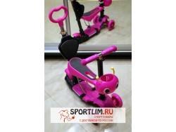 Самокат детский Scooter 5 в 1 с подсветкой и музыкой, розовый