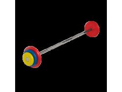 Штанга неразборная с цветными дисками 22.5 кг