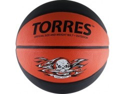 Мяч баск. TORRES Game Over р. 7, резина, серо-красный