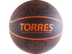 Мяч баск. TORRES TT р. 7, резина, бордово-оранж.