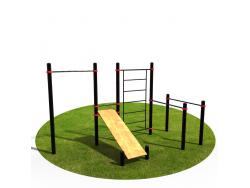 Спортивный Workout комплекс BW-33-М со скамьей для пресса, лестницей, турником и брусьями